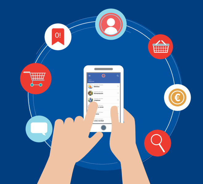dibujo de móvil con acceso a varias apps App distribuidores alimentos  BGrup 2