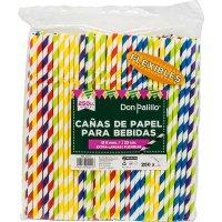 Cañas Papel Flexibles 23cm Rayas Colores 250u P4 - 19812