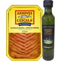 Anxoves De L'escala Safata 50 Filets + Regal Botella D'oli - 6262