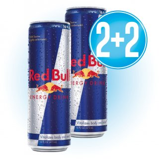 2 Cajas Red Bull Lata 473 Ml (12u) + 2 De Regalo