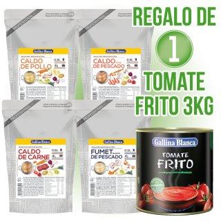 3 Cajas Caldo Concen Gall Blan 1/2lt Doy (Car,Pes,Pollo,Fumet) + Regalo de 1 lata Tomate Frito 3kg