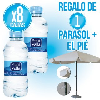 8 Cajas Font Vella 33cl pet + Regalo de 1 parasol 3mt + pie