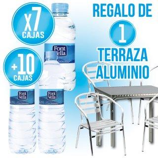 7 cajas Font Vella 33cl pet + 10 cajas Font Vella 1,25lt pet + Regalo de 4 sillas + 1 mesa aluminio