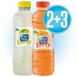 2 Cajas Font Vella Levité Lata Limón O Naranja 50cl (12 U) + 3 Cajas De Regalo