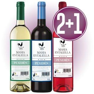 2 Caixes Vin Masia Estalella Blanc, Negre O Rosat 75cl (6 U) + 1 De Regal