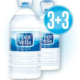 3 Cajas De Font Vella 6,25lt Pet (3u) + 3 De Regal