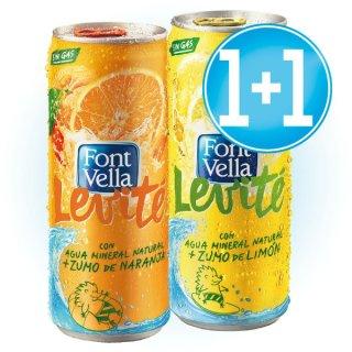 1 Caja Font Vella Levité Lata Limón O Naranja 33cl (24 U) + 1 Caja De Regalo