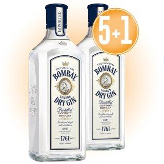 5 Bot Gin Bombay Imported + 1 De Regalo
