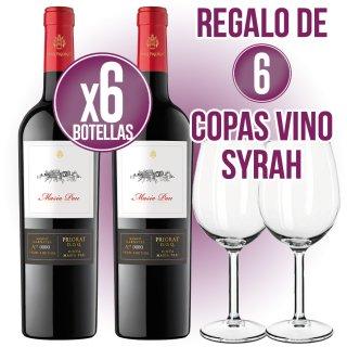 1 Caja Masia Pau Tinto (6 u) + Regalo de 6 Copas Vino Syrah