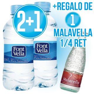 2 Cajas Font Vella 33cl (35 U) + 1 Caja De Regalo + 1 Caja Malavella 1/4 Ret De Regalo