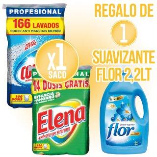 1 SACO DETERGENTE COLÓN O ELENA REGALO DE 1 BOTELLA SUAVIZANTE FLOR 2,2LT