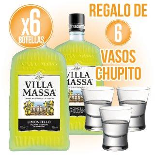 6 Botella De Limoncello Villa Massa Regalo De 6 Vasos Chupito