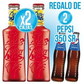 2 Cajas Bitter Kas 20cl sr (24u) + Regalo de 2 Cajas Pepsi 35cl sr