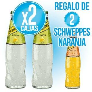 2 Cajas Schweppes Limón 20cl Ret (28u) + Regalo de 2 Cajas Schweppes Naranja 20cl ret (28u)
