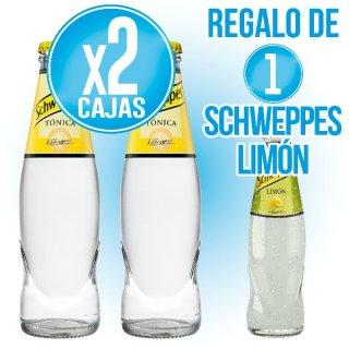 2 Cajas Schweppes Tonica 20cl Ret (28u) + Regalo de 2 Cahas Schweppes Limón 20cl Ret (28u)