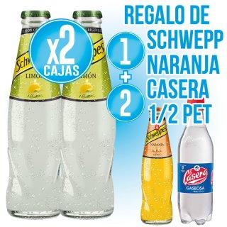 2 Cajas Schweppes Limón 20cl Ret (28u) + Regalo de 2 Cajas Schweppes Naranja Ret + 1 Casera 50 Pet