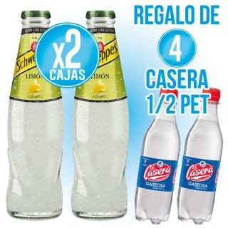 2 Cajas Schweppes Limón 20cl Ret (24 U) Regalo De 4 Cajas Casera 50cl Pet (12 U)
