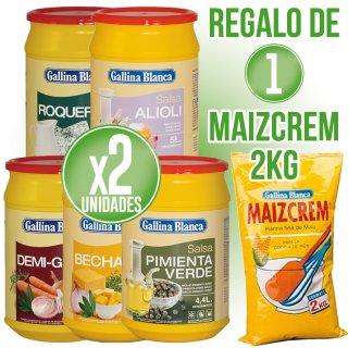 2 Botes Salsa Gallina Blanca Regalo De Una Bolsa Maizcrem 2kg