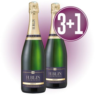 3 Botellas Champagne H.Blin Etiqueta Azul + 1 De Regalo
