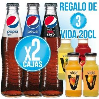 2 Cajas Pepsi 350 Sr (24 U) + Regalo De 3 Vida 200 Sr Sabores (24 U)