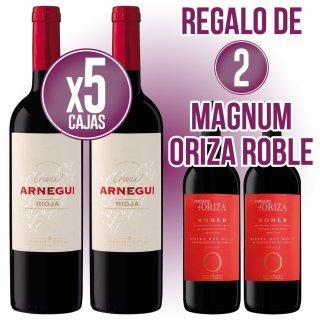5 Cajas Arnegui Crianza Tinto (6 U) + Regalo De 2 Bot Magnum Condado De Oriza Roble
