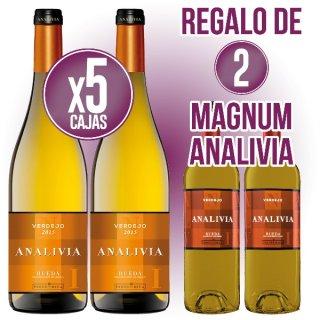 5 Cajas Analivia Blanco Verdejo Rueda (6 U) + Regalo De 2 Bot Magnum Analivia Bco Verdejo Rueda