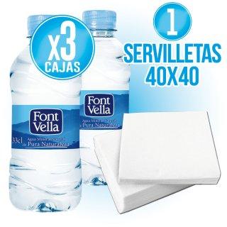 3 Cajas Font Vella 33cl Regalo De 1 Caja Servilletas 40x40