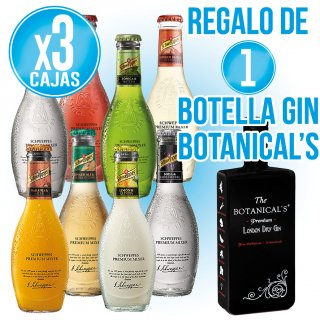 3 Cajas Tonica Schweppes Premium 20cl (24 U) + Regalo De 1 Botella Gin Botanicals