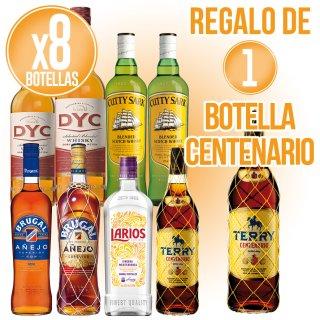 8 Botellas Selección Maxxium + Regalo De 1 Bot Centenario Terry 1lt