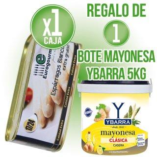 1 Caja Esparragos 17/24 Eurogourmet 1kg Lata (12u) + Regalo De 1 Cubo Mayonesa Ybarra 5kg