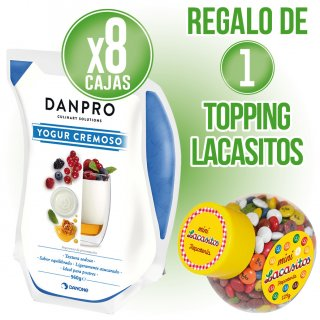 8 Bosses Iogur Danone Pro 960gr + Regal de 1 Topping Lacasitos 129gr
