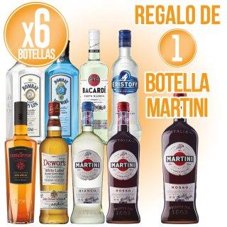 6 Botellas Selección Bacardi + Regalo De 1 Bot Martini