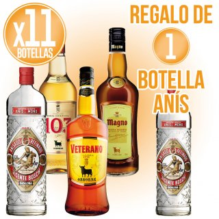 11 Botellas Selección Osborne + Regalo De 1 Bot Anis Del Mono