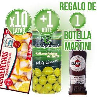 10 Latas Berb King John 35/45 + 1 Lata Aceitunas Rell Eurogour 1,5kg + Regalo 1 B Martini Negro
