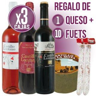3 CAJAS CASTILLO LONTANO (BCO, RDO, TTO, CZA) + REGALO DE 1 QUESO CURADO CASTILLO MOTA + 10 FUETS