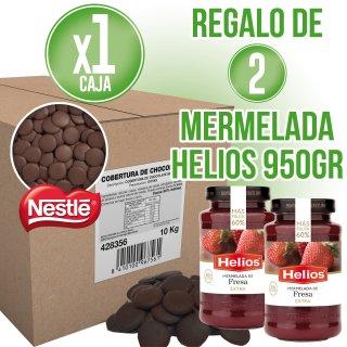 1 Caja Cobertura Negra Gotas 10kg Nestlé + Regalo de 2 Mermelada Fresa Hero 950gr