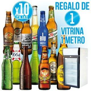 10 Cajas Cerveza San Miguel a Elegir + Regalo de 1 Minivitrina