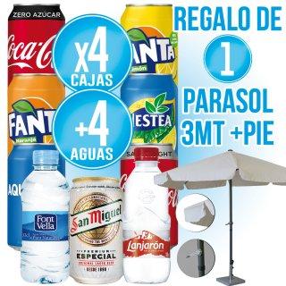 4 Cajas Latas Variadas + 4 Cajas Agua + Regalo de Parasol 3 metros