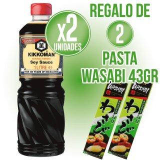 2 Botes Salsa Soja Kikoman 1lt + Regalo de 2 Tubo Wasabi 43gr