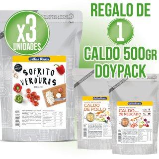 3 Bolsas Sofrito Gallina Blanca 1lt + Regalo de 1 Caldo doypack 1/2lt