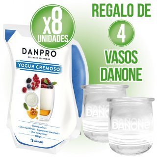 2 Cajas Yogurt Danone Azucarado + Regalo de 4 vasos cristal Danone