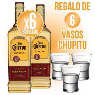 6 Bot Tequila Cuervo Especial Oro 70cl + Regalo de 6 Vasos Chupito