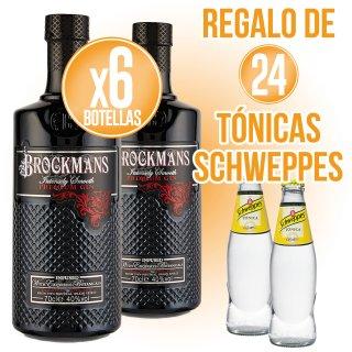 6 Bot Gin Brockman's 70cl + Regalo de 24 Schweppes Tónica 20cl sr