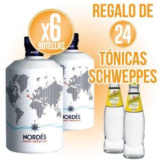 6 Bot Gin Nordes 70cl + Regalo de 24 Schweppes Tónica 20cl sr