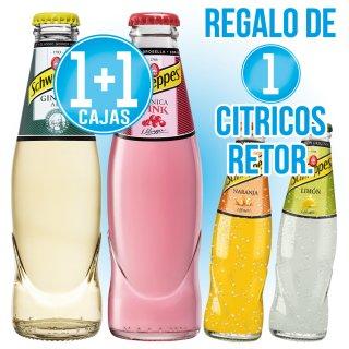 1 Caja Schweppes Ginger Ale 20cl ret + 1 C Tonica Pink 20cl ret + Regalo De 1 C Citricos 20cl Ret