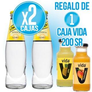 2 Cajas Schweppes Tonica 20cl ret (28 u) + Regalo de 1 caja Zumos Vida 20cl (24 u)