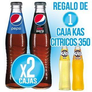 2 Cajas Pepsi 35 cl (24 u) + Regalo de 1 Caja Kas Cirtricos 35cl (24 u)