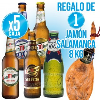 5 Cajas San Miguel a Elegir + Regalo de 1 Jamón 8 kg