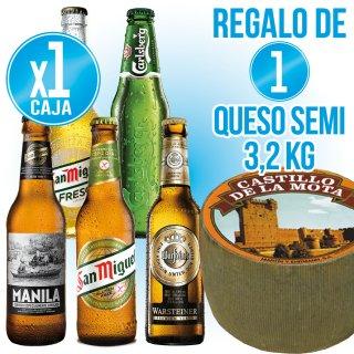 1 Caja San Miguel a Elegir + Regalo de 1 Queso Castillo la Mota