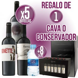 5 Cajas Vino Jumilla + 8 Cajas Font Vella 33 cl + Regalo a Escoger 1 Cava o 1 Conservador